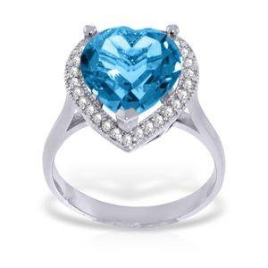 14K. GOLD RING WITH DIAMONDS & HEART BLUE TOPAZ